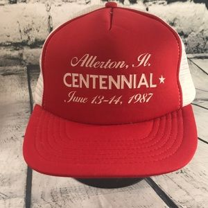 Other - Vintage SnapBack Red & White Mesh Trucker Hat
